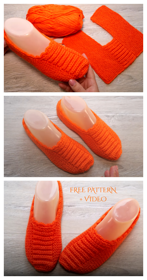 Knit One-Piece Slippers in Turkish motives Free Knitting Pattern + Video