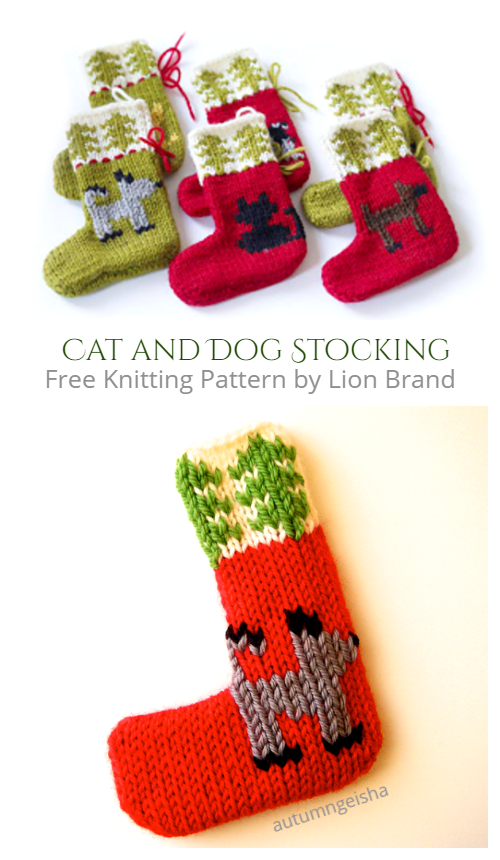Cat and Dog Holiday Ornaments Christmas Stocking Free Knitting Patterns