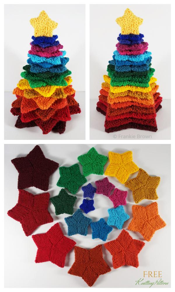 Knit Stacking Stars Noel Ağacı Ücretsiz Örgü Modeli