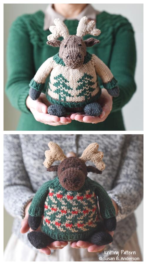 Christmas Amigurumi Moose Free Knitting Patterns