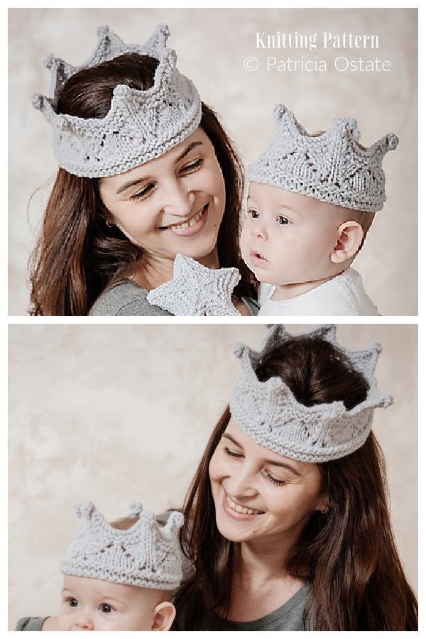 Knit Mommy and Me Fairytale Crown and Magic Wand Knitting Patterns