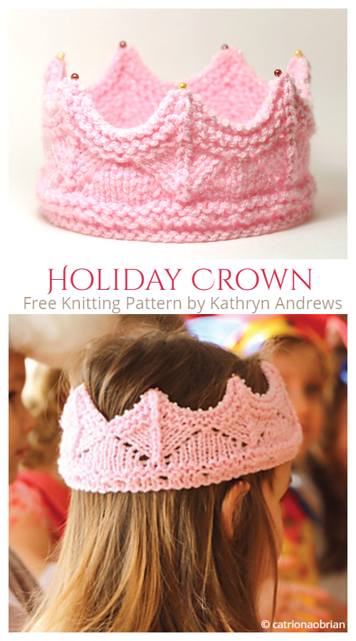 Knit Holiday Crown Free Knitting Patterns