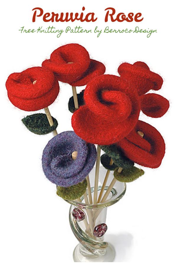 3D Peruvia Gül Çiçeği Ücretsiz Örgü Desenleri