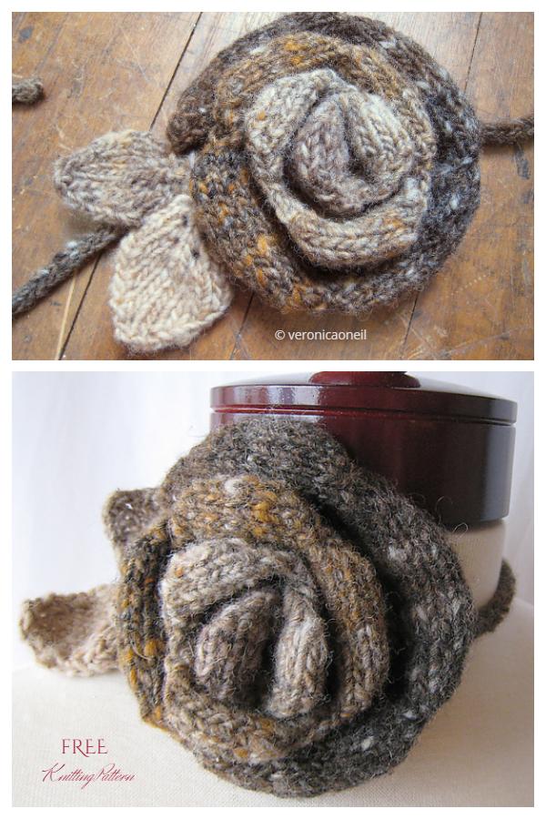 3 Boyutlu Çiçek Açan Gül Çiçeği Ücretsiz Örgü Desenleri