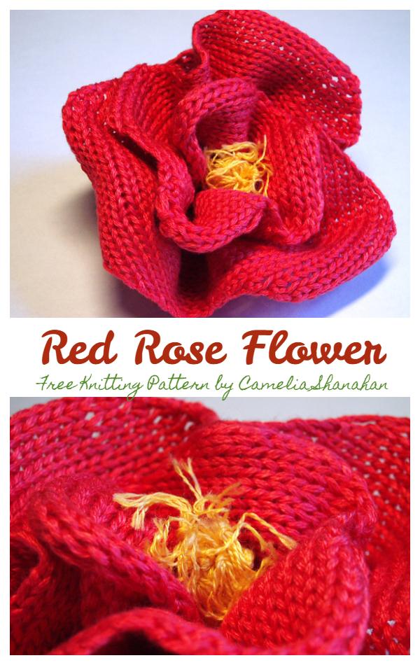 3D Kırmızı Gül Çiçeği Ücretsiz Örgü Desenleri