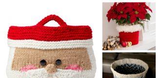 Knit Christmas Basket Free Knitting Patterns