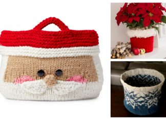 Knit Christmas Basket Free Knitting Patterns