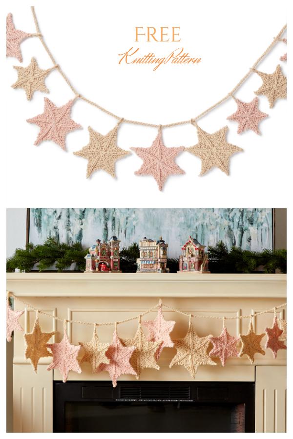 Christmas Star Light Garland Free Knitting Patterns