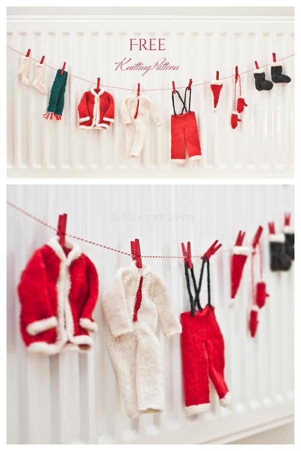 Christmas Santa's Laundry Line Garland Free Knitting Patterns