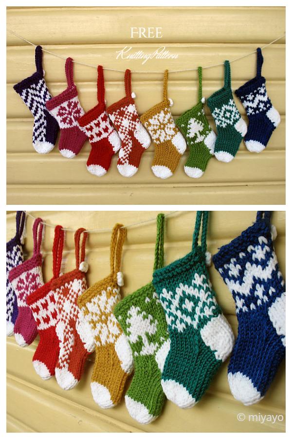 Mini Christmas Stocking Garland Free Knitting Patterns