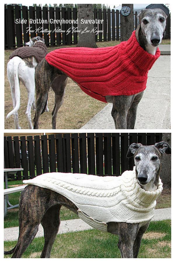 Knit Side Button Greyhound Dog Sweater Free Knitting Patterns
