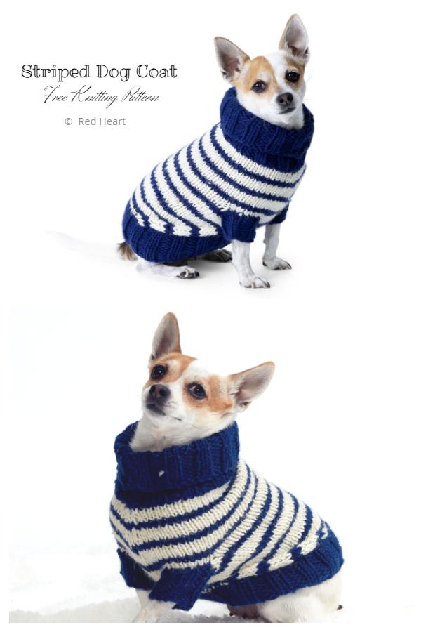 Knit Striped Dog Coat Free Knitting Patterns