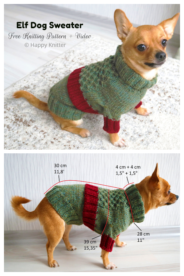 Knit Elf Dog Sweater Free Knitting Patterns
