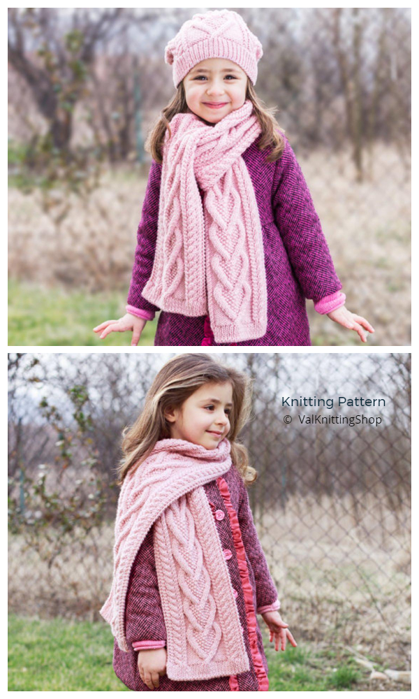 Valentine Heart Cable Scarf Knitting Patterns