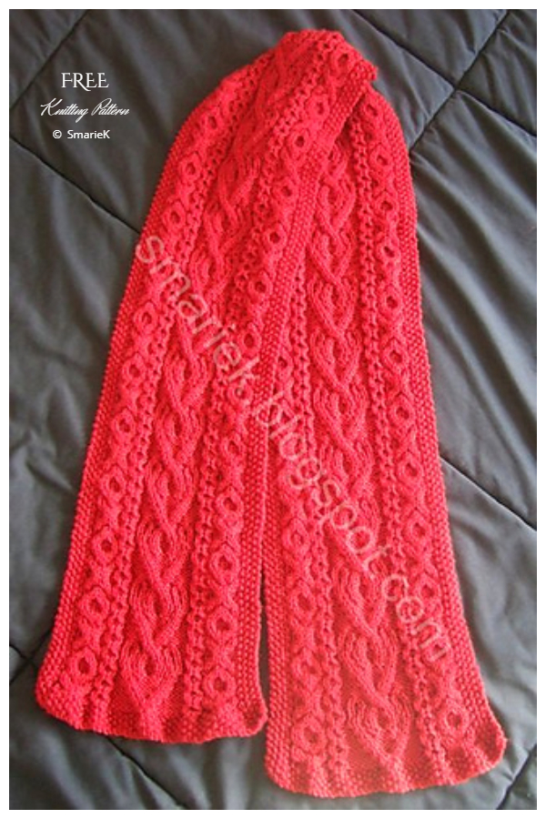 Saint Albans Valentine Heart Cable Scarf Free Knitting Patterns