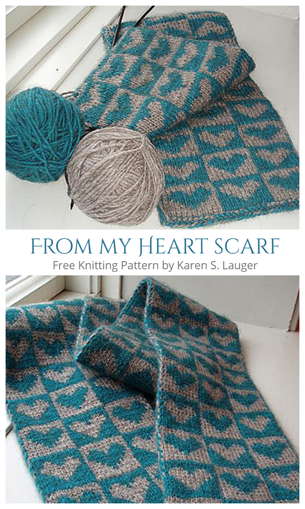 From my Heart Valentine Scarf Free Knitting Patterns