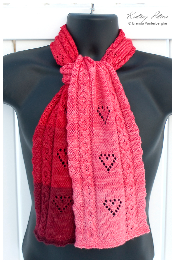 Valentine Hole Hearted Scarf Free Knitting Patterns