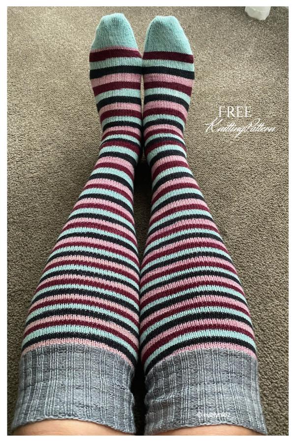 Fingering Toe-Up Magic Loop Knee High Socks Free Knitting Patterns