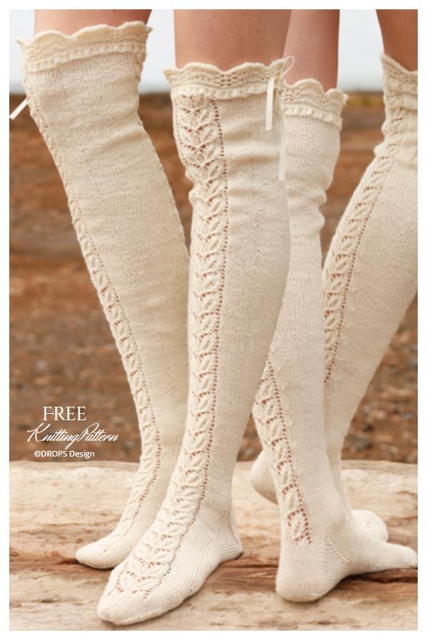 Marie Antoinette Knee High Socks Free Knitting Patterns