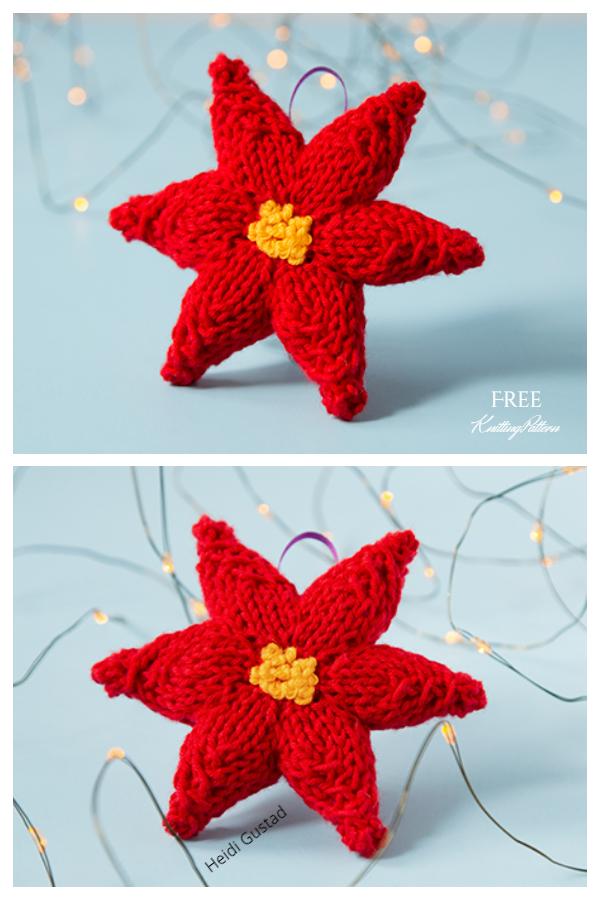 Örgü Poinsettia Yılbaşı Çiçeği Ücretsiz Örgü Desenleri
