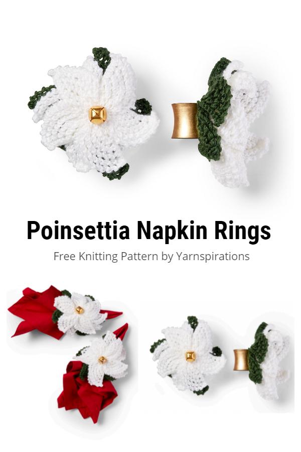 Knit Poinsettia Christmas Flower Free Knitting Patterns