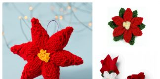 Knit Poinsettia Christmas Flower Free Knitting Patterns