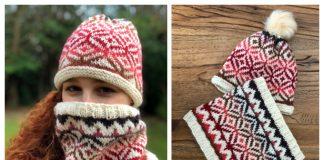 Ombre Diamonds Cowl Hat Set Free Knitting Pattern