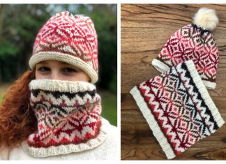 Ombre Diamonds Cowl Hat Set Free Knitting Pattern