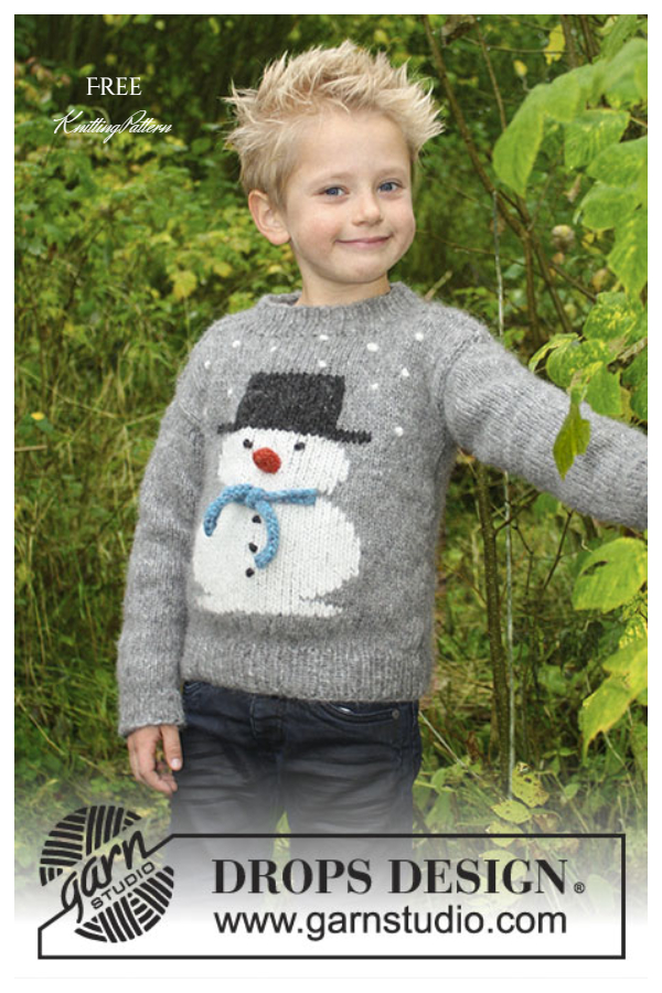 Frosty's Christmas Kids Snowman Sweater Free Knitting Patterns