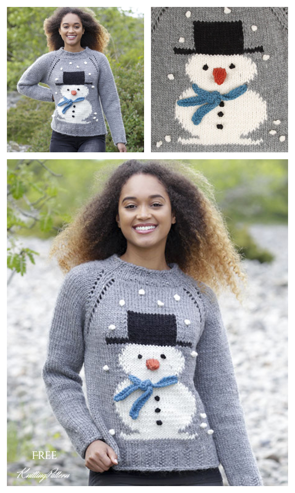 Frosty's Christmas Snowman Sweater Free Knitting Patterns