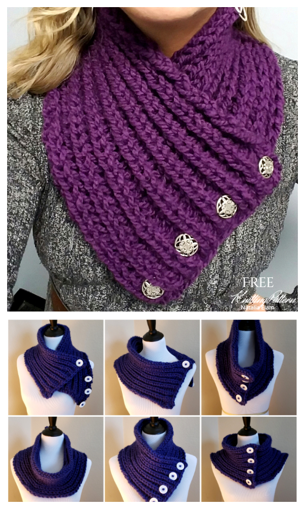 Simple Bulky Brioche  Crossover Tuck Cowl Free Knitting Patterns