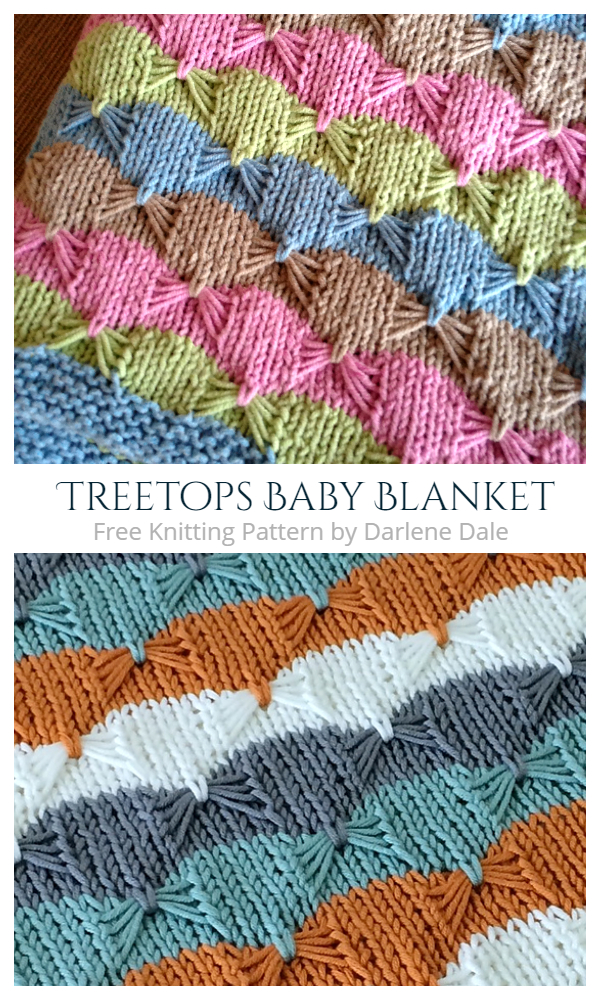 Treetops Butterfly Stitch Blanket Free Knitting Patterns