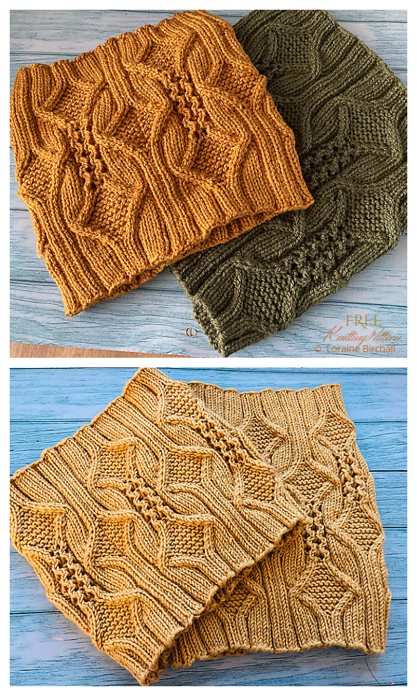 Knit Diamonds and Lace Cowl Free Knitting Patterns