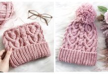 Cable Heart Hat Free Knitting Pattern & Paid