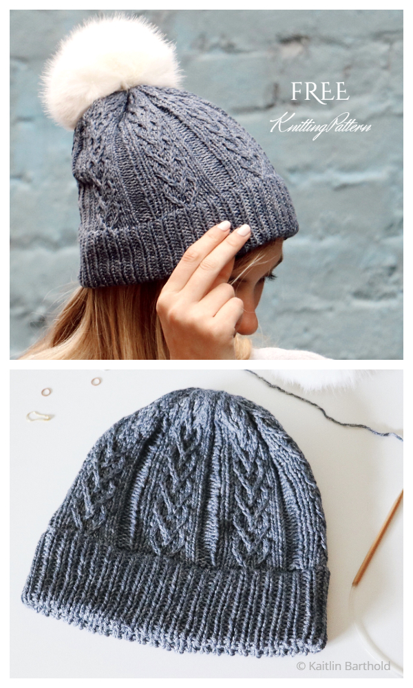 With Love Cable Heart Hat Free Knitting Pattern
