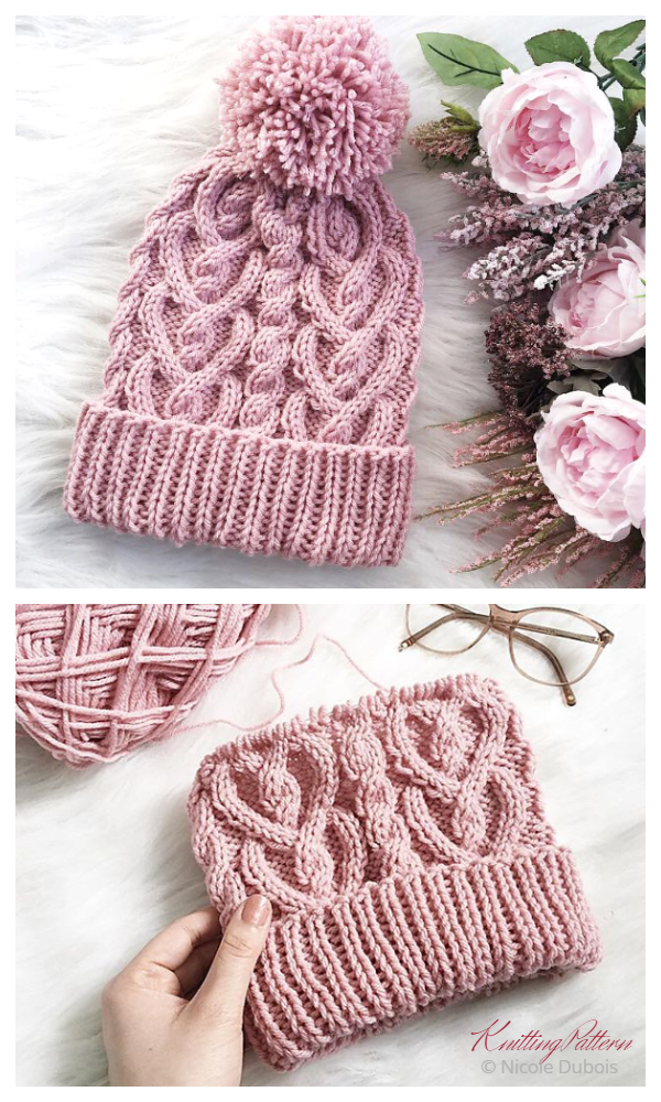 Cable Heart Hat Knitting Pattern