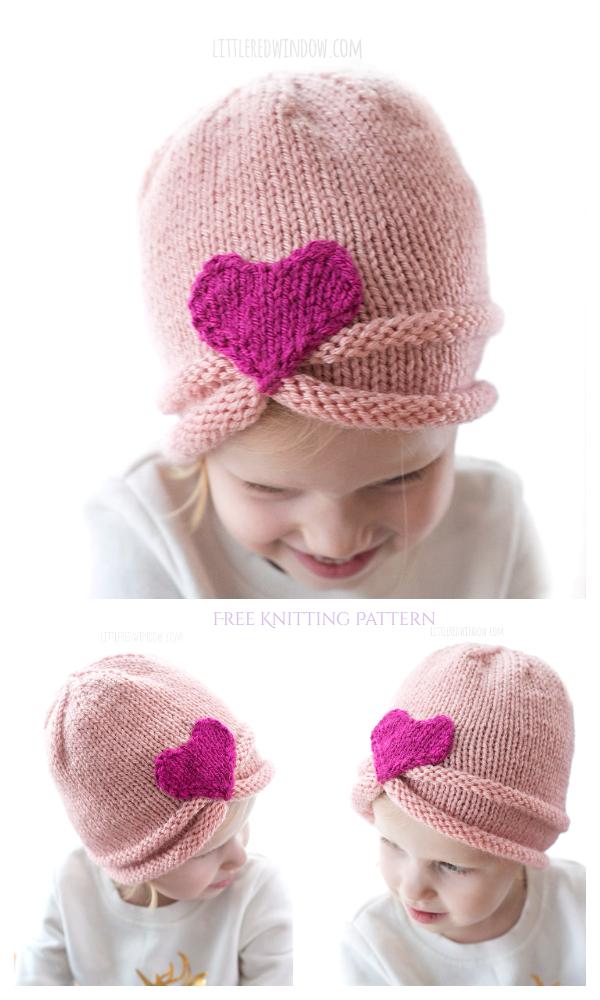 Knit Valentine Büzgülü Kalp Şapka Ücretsiz Örgü Modeli