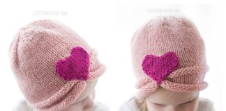 Knit Valentine Gathered Heart Hat Free Knitting Pattern