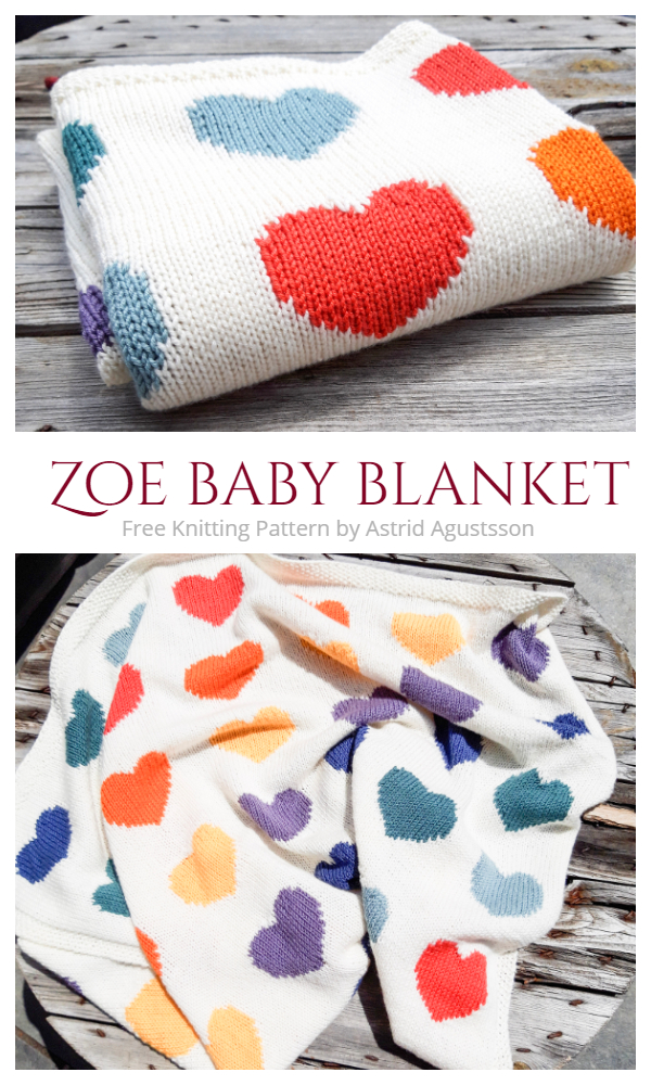 Valentine Zoe Heart Blanket Free Knitting Patterns