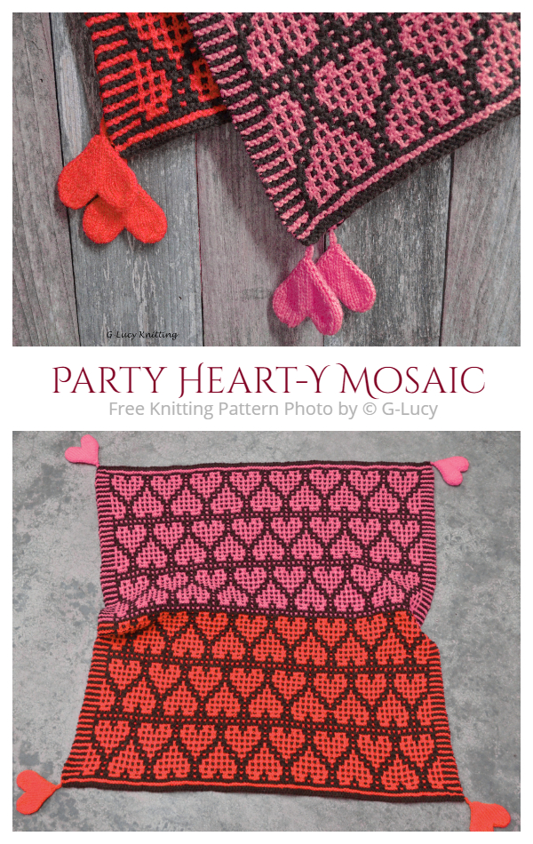 Party Heart-Y Mosaic Valentine Heart Blanket Free Knitting Patterns