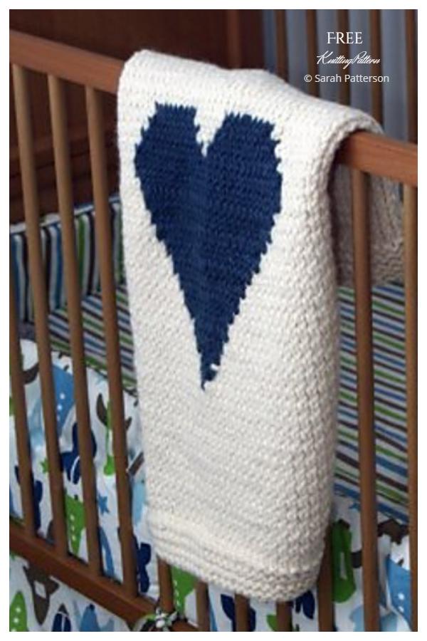 Valentine's Day Heart Blanket Free Knitting Patterns