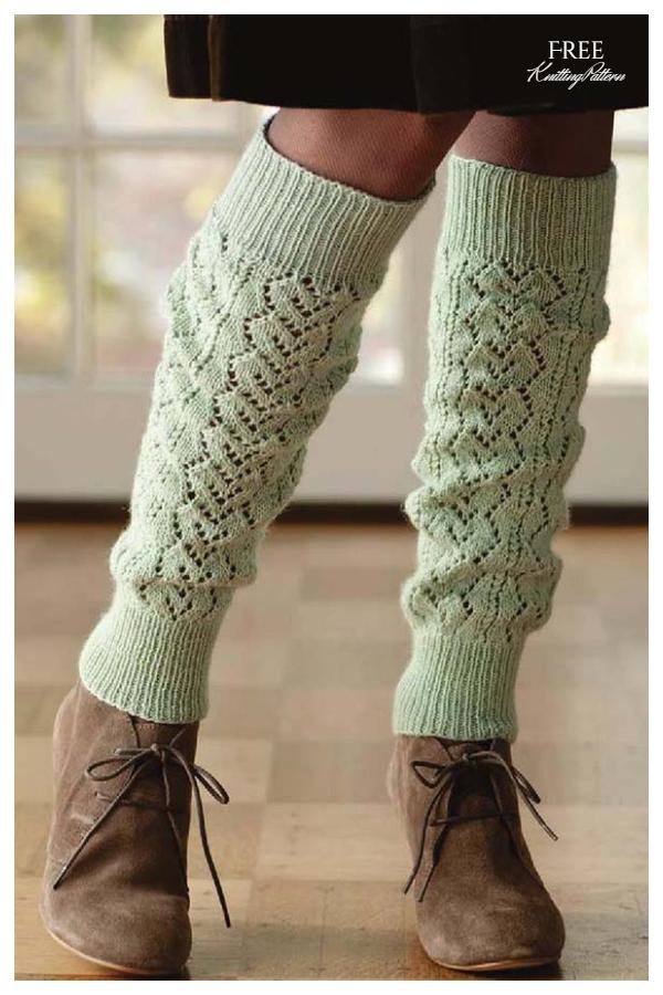 Knit Lace Heart Leg Warmers Free Knitting Patterns
