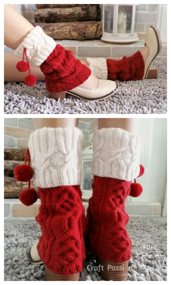 Miss Santa Cuff Bacak Isıtıcıları Ücretsiz Örgü Modelleri
