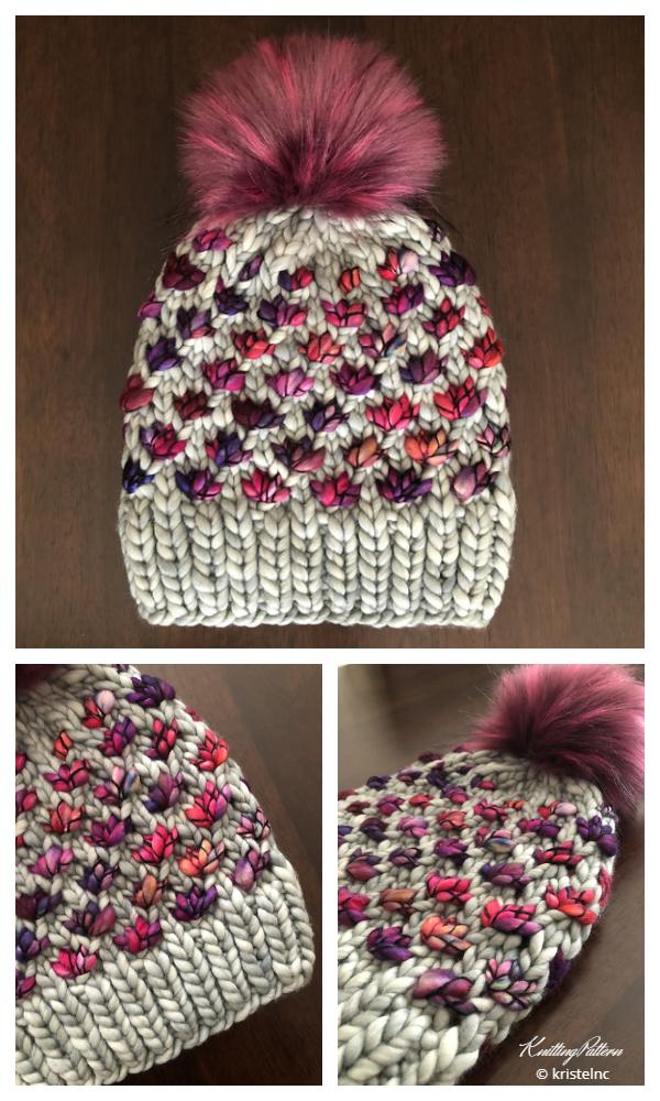 Lotus Çiçeği Bere Şapka Örgü Modeli