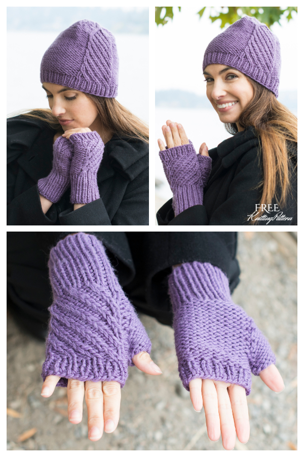 Birch Creek Fingerless Mitts & Hat Free Knitting Pattern