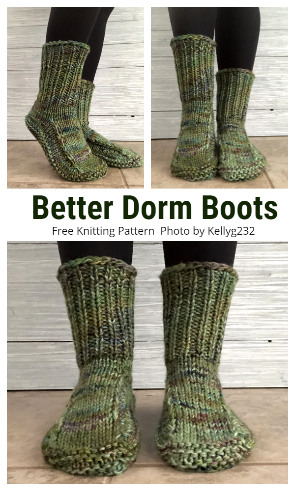 Better Dorm Boots Slippers Free Knitting Patterns