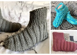 Knit Adult Ribbed Bootie Slippers Free Knitting Pattern