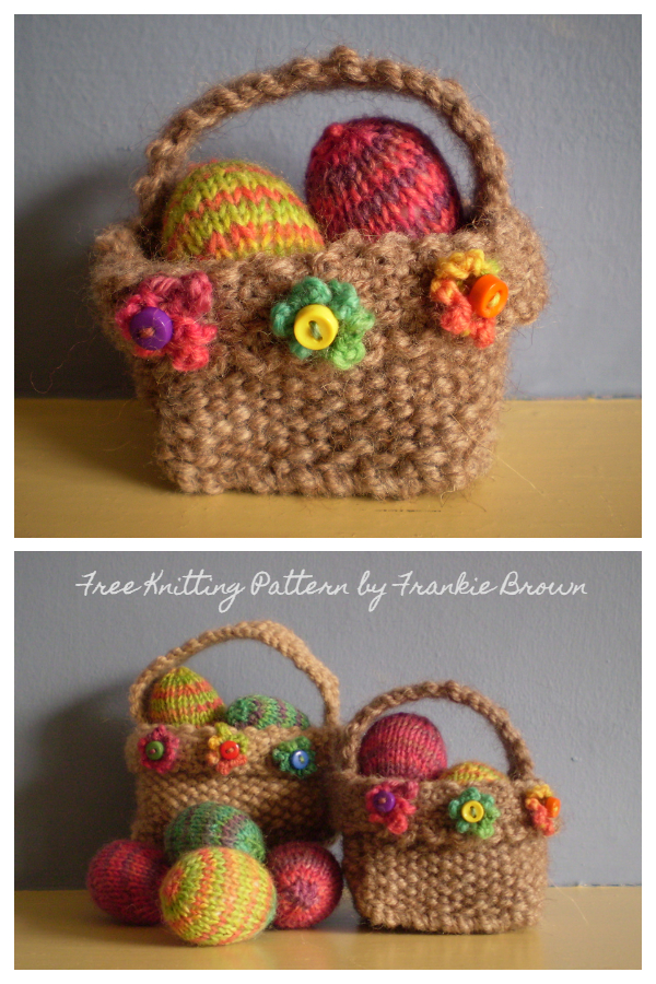 Mini Eggs and Easter Basket Free Knitting Patterns