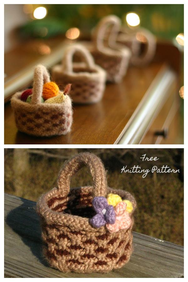 Mini Easter Basket Free Knitting Patterns