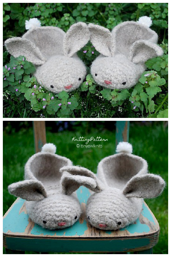 Hopsalots Adult Bunny Slippers Knitting Patterns